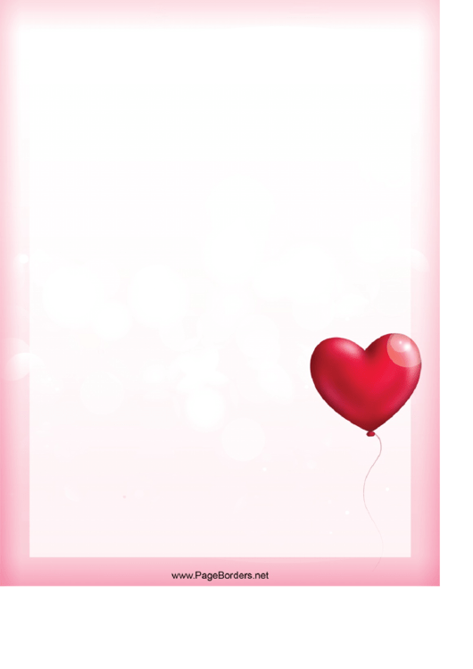Balloon Heart Border Printable pdf