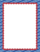 Patriotic Sparklers On Blue Page Border Template