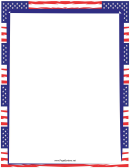Bold Blue And Red Us Flags Page Border Template