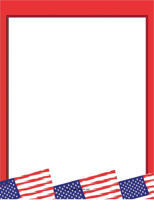 Red American Flag Border Printable pdf