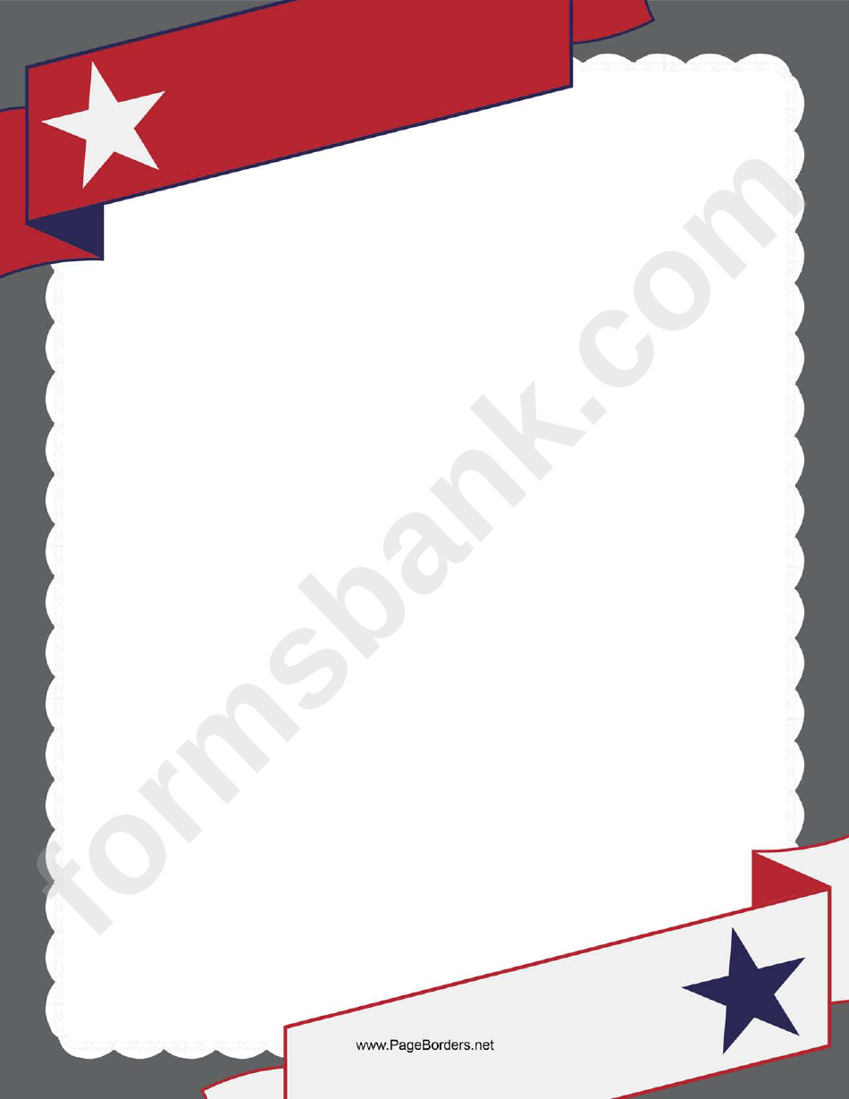 Patriotic Red Banner Border Template With A Star