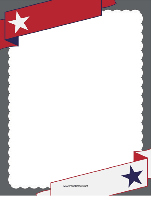 Patriotic Red Banner Border Template With A Star Printable pdf