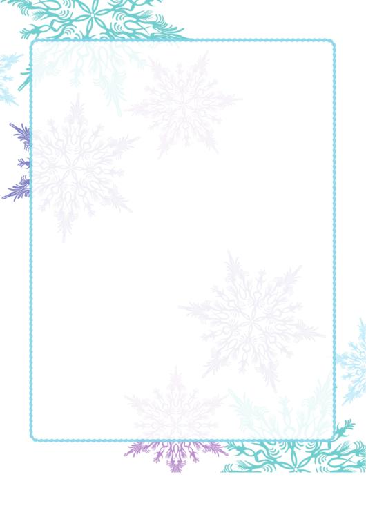 Purple And Green Snowflake Border Printable pdf