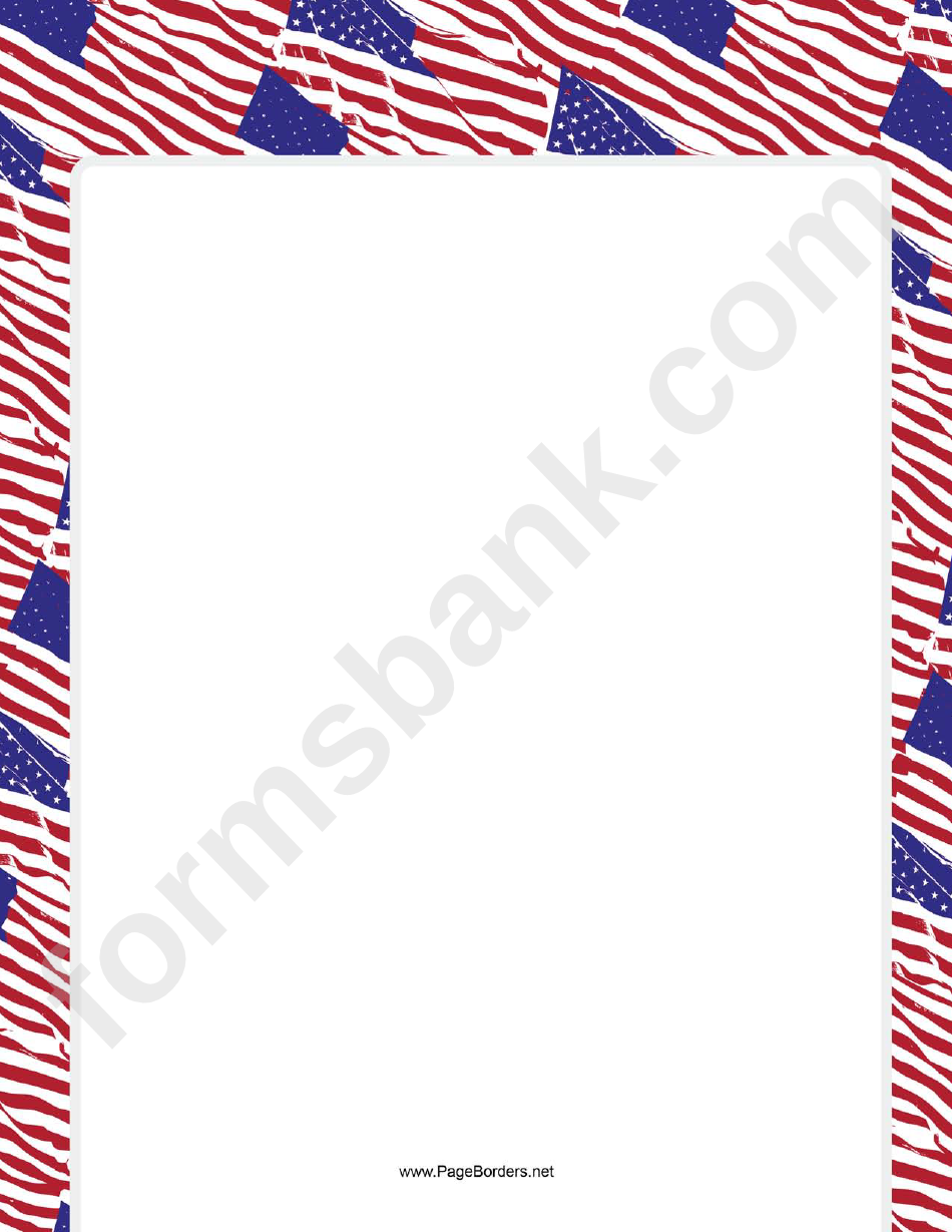 patriotic red white and blue us flag border template printable pdf