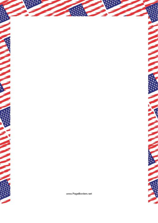 Overlapping American Flags Border Printable pdf
