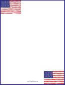 Six American Flags Blue Border
