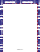 Blue Us Flags Page Border Template