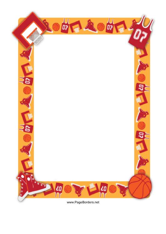 Basketball Border Printable pdf