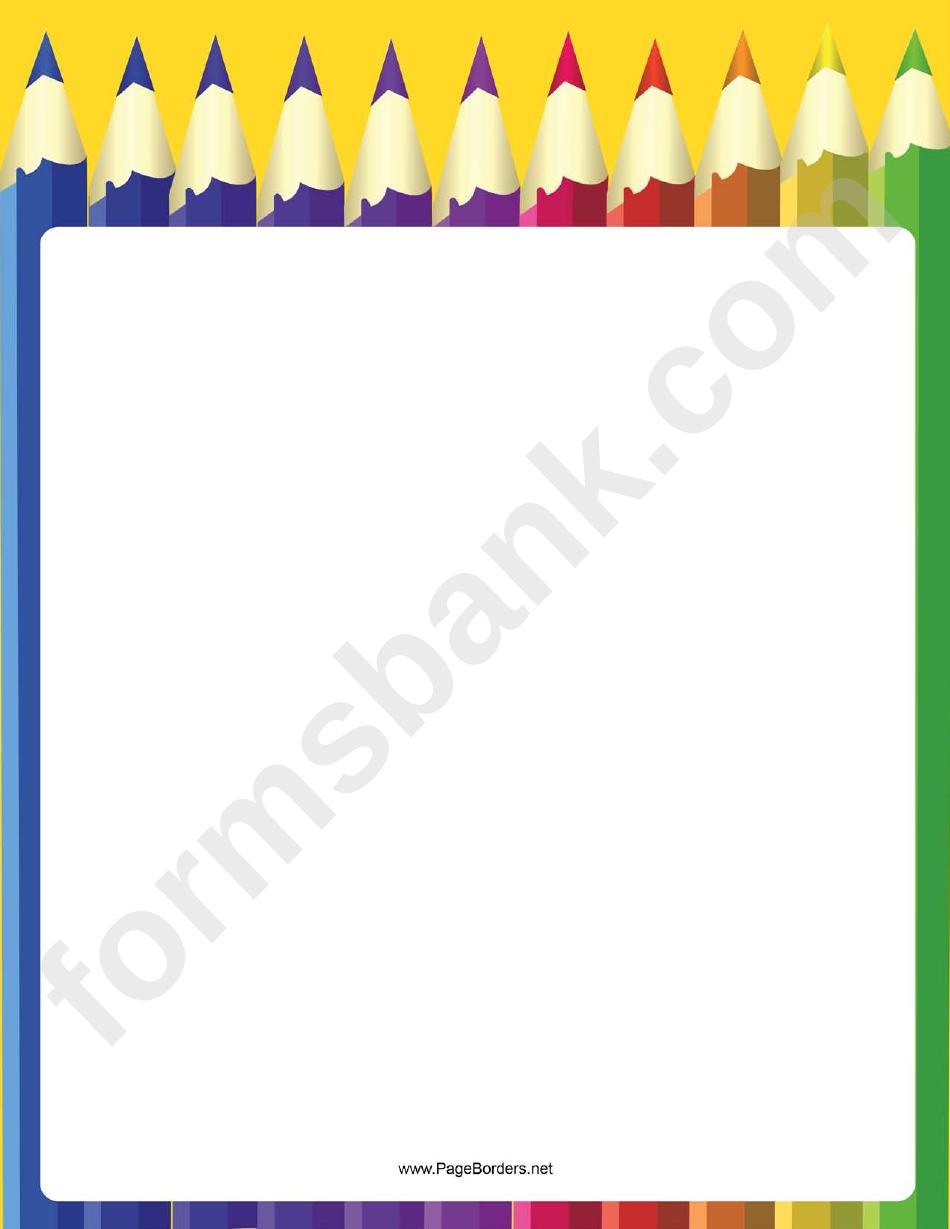 Coloring Pencil Row Border