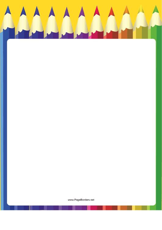 Coloring Pencil Row Border Printable pdf