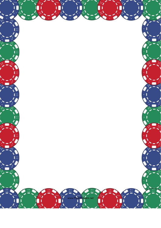 Colorful Poker Chips Border Template Printable pdf