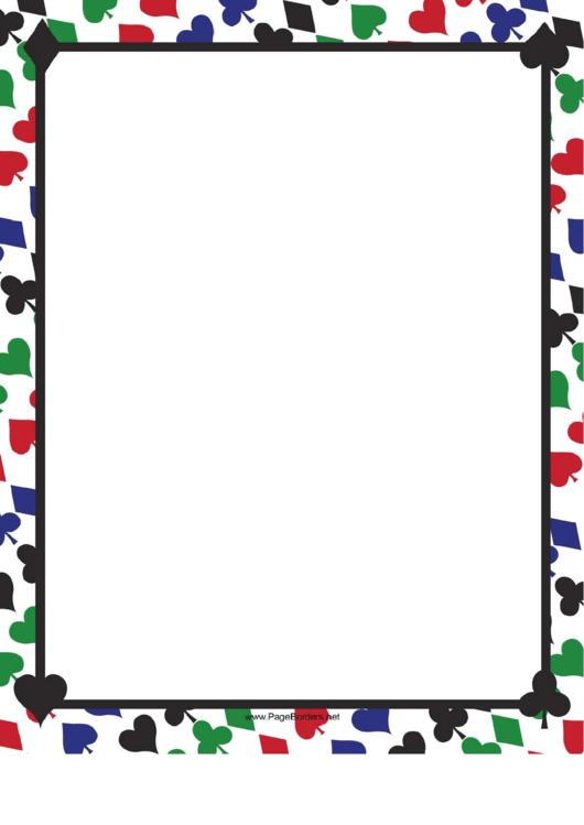 Colorful Card Suites Border Printable pdf