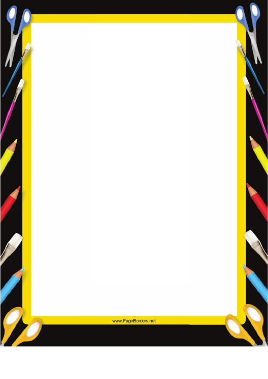 Art Supplies Black Border Printable pdf