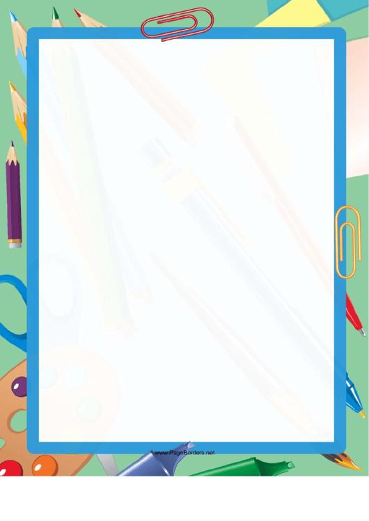 Coloring Pencils Border Printable pdf