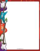 Colorful Electric Guitars Border