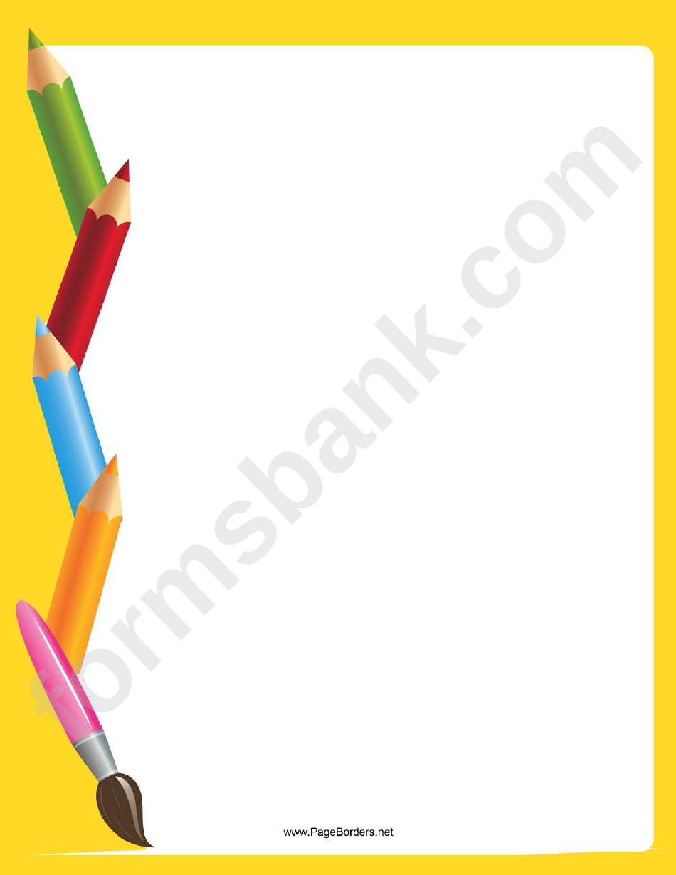 Yellow Art Supplies Border
