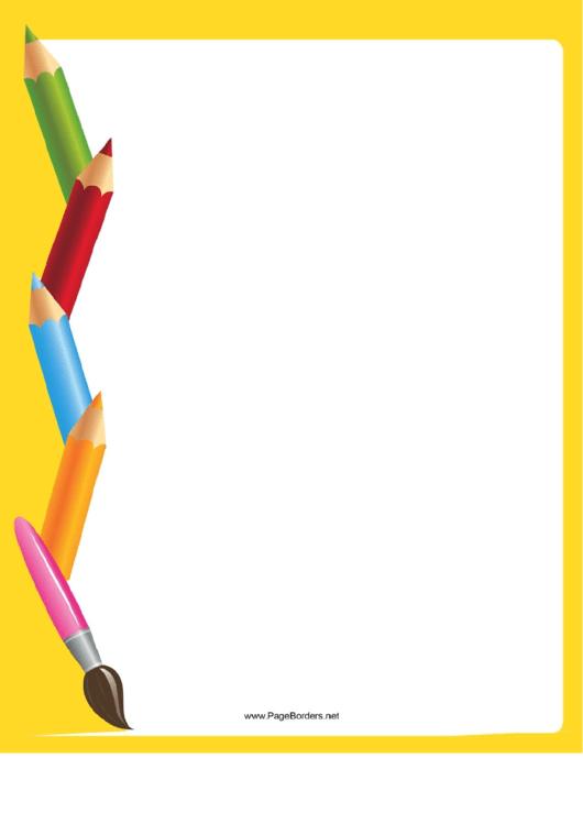 Yellow Art Supplies Border Printable pdf