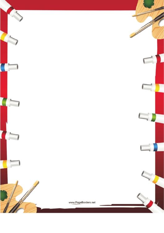 Paint Tubes Border Printable pdf
