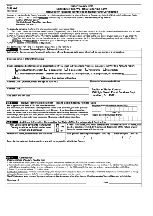 Form Sub W 9 Substitute Form W9 Ohio Reporting Form Request For