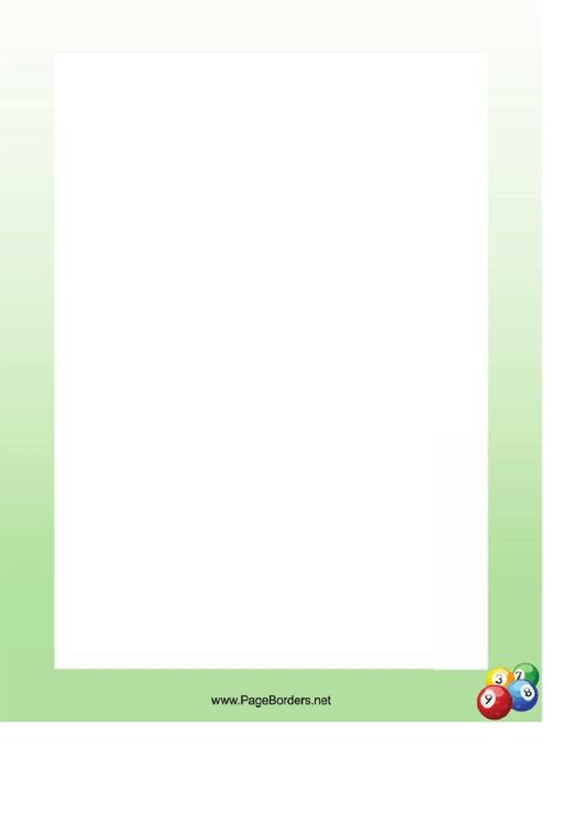 Pool Balls Border Printable pdf