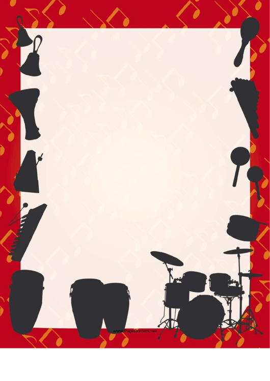Percussion Silhouette Border Printable pdf
