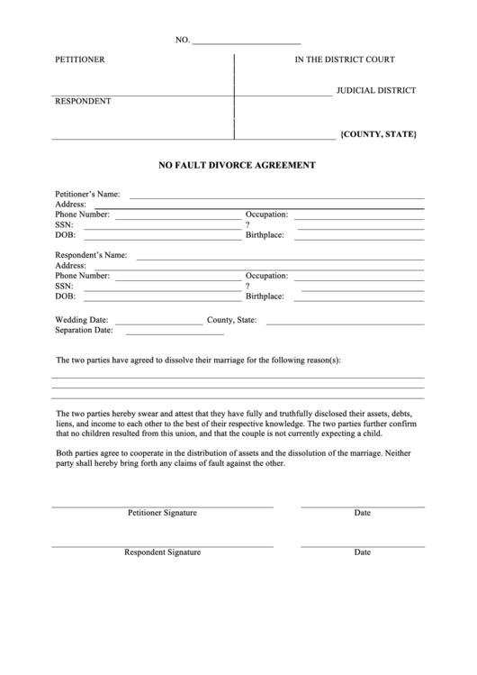 No Fault Divorce Agreement Template Printable pdf