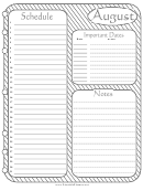 Monthly Planner - August