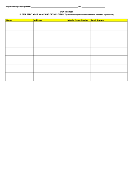 Project/meeting/campaign Sign In Sheet Template