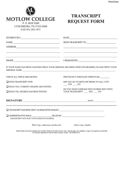 Fillable Transcript Request Form Motlow State Community College Printable pdf