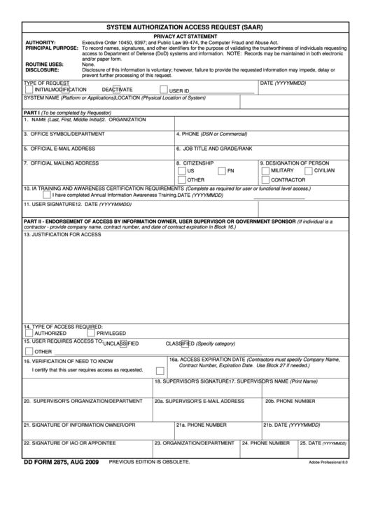 Dd Form 2875 - System Authorization Access Request (saar) (Page 3 ...
