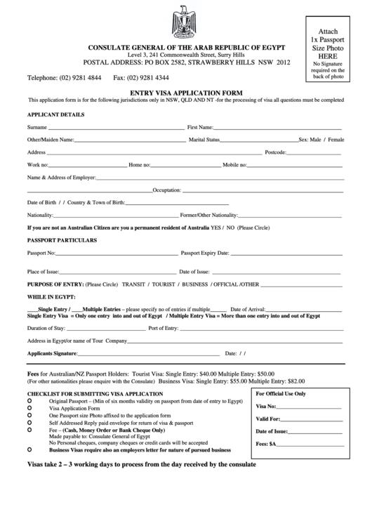 Entry Visa Application Form For Citizens Of Australia