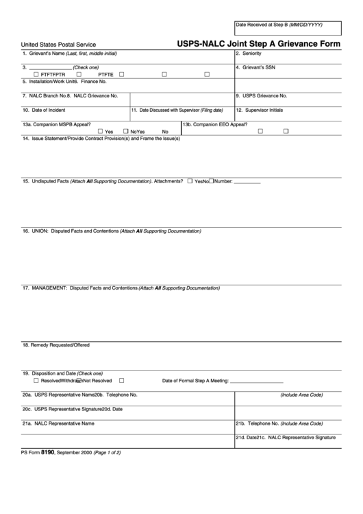 Ps Form 8190 Usps Nalc Joint Step A Grievance Form