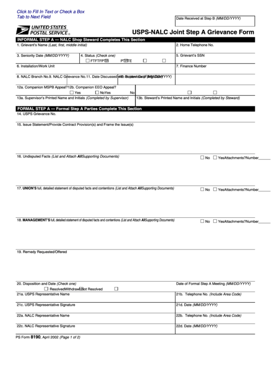 Form Ps8190 - Usps Nalc Joint Step A Grievance Form