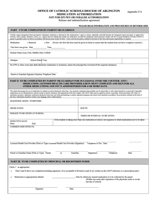 Fillable Office Of Catholic Schools Diocese Of Arlington Medication Authorization Printable pdf