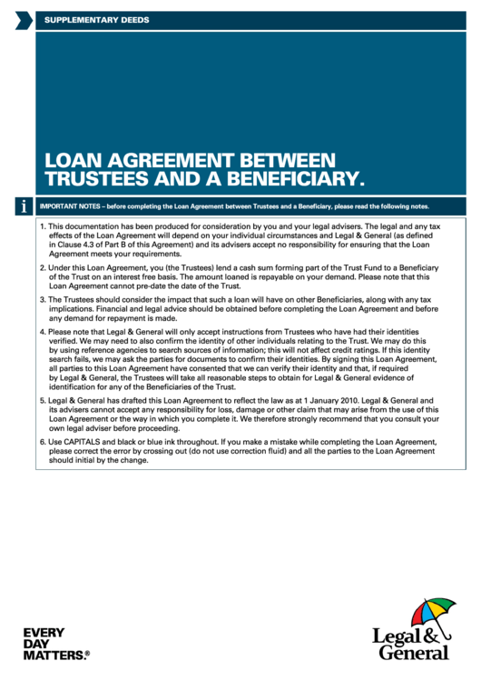 Loan Agreement Between Trustees And A Beneficiary