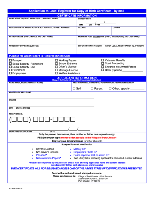 Form Bc Web-20140729 - Application To Local Registrar For Copy Of Birth Certificate Printable pdf