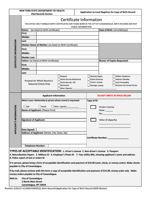 Top 11 Nys Birth Certificate Application Form Templates Free To