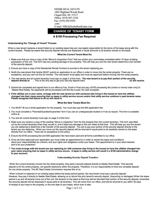 Change Of Tenant Form - Neebe Real Estate Printable pdf