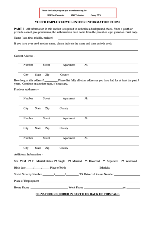 Employee Information Form Templates. Volunteer Information Form Preston  Hollow Presbyterian Church  Employee Information Form Sample