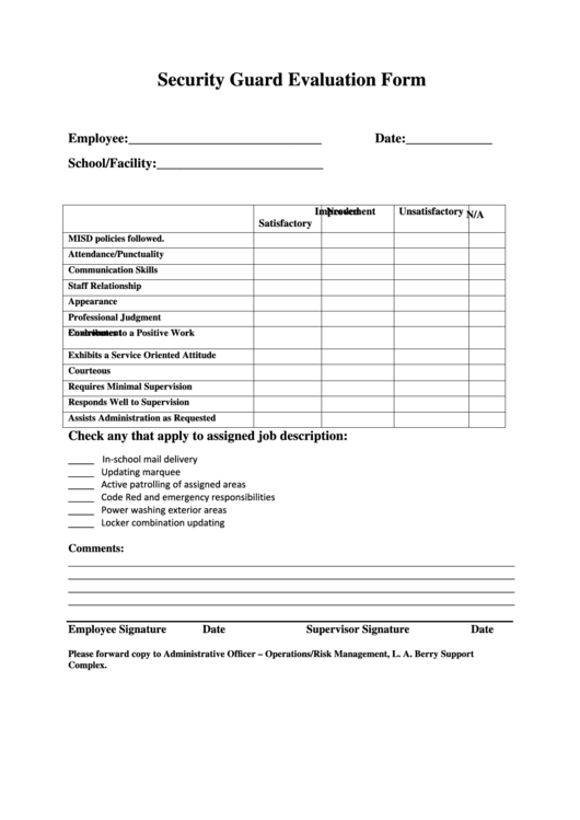 security guard evaluation form printable pdf download