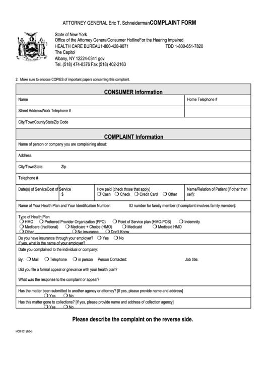 fillable health care bureau complaint form new york state attorney general printable pdf download. Black Bedroom Furniture Sets. Home Design Ideas