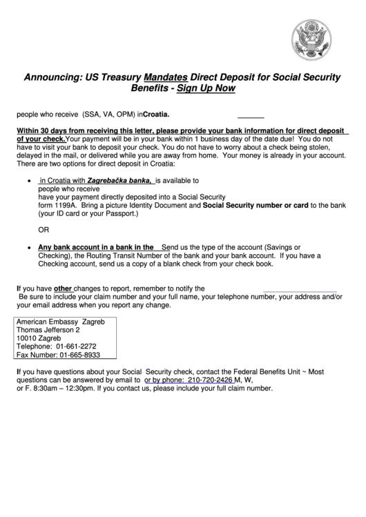Standard Form 1199a - Direct Deposit Sign-Up Form - 1987 Printable pdf