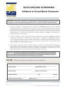 Doea Form 231 - Background Screening - Affidavit Of Good Moral Character