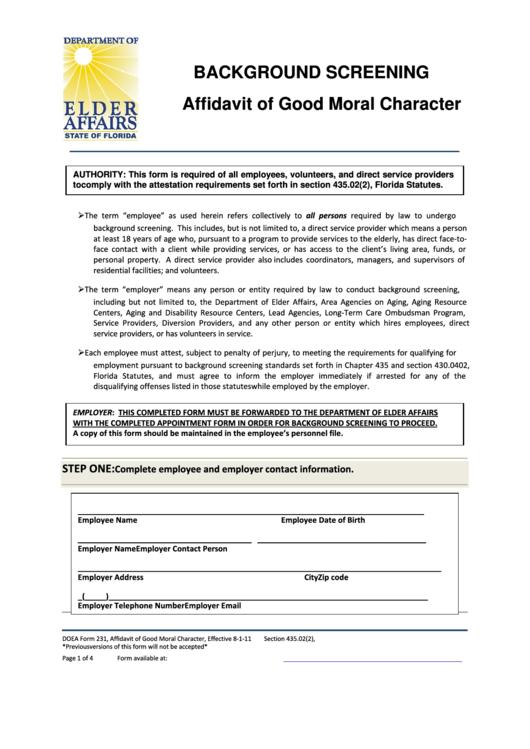 doea form 231 background screening affidavit of good moral character