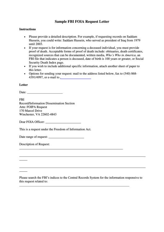 sample fbi foia request letter template printable pdf download. Black Bedroom Furniture Sets. Home Design Ideas