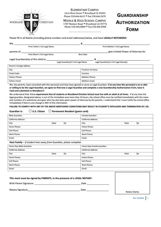 Guardianship Authorization Form - Woodland Christian School