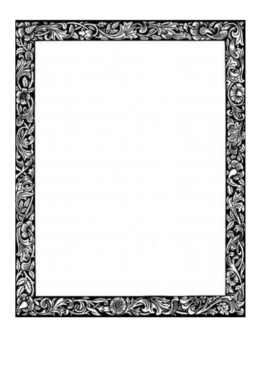 Floral Vines Bw Border Printable pdf