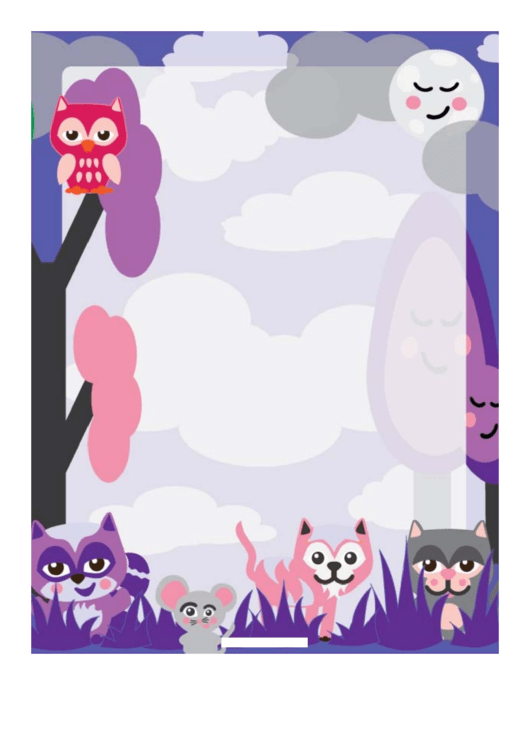 Forest Creatures Border Printable pdf