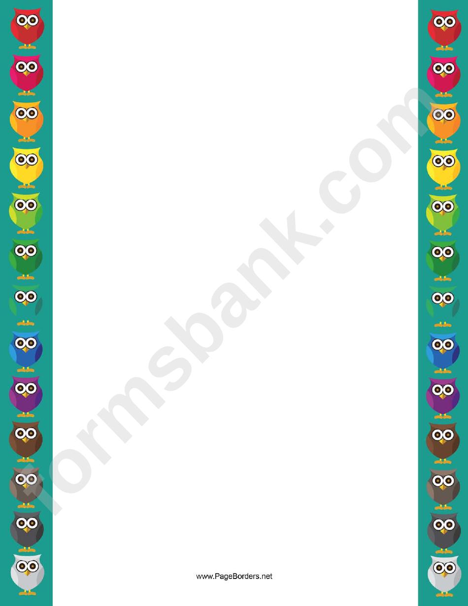 Colorful Owl Border