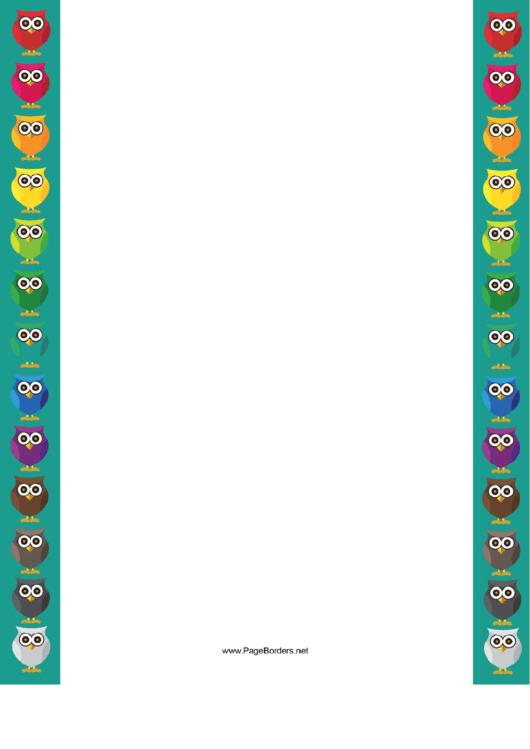 Colorful Owl Border Printable pdf